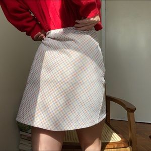 Vintage plaid gingham mini skirt